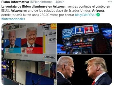 Ventaja Biden disminuye Arizona 2 Trump