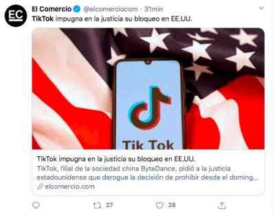 China amenaza EEUU TikTok WeChat (Twitter)