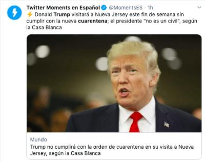 Trump Nueva Jersey: informan que no seguirá orden de cuarentena