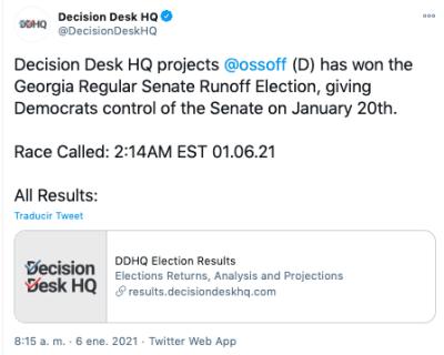 Ossoff gana elecciones
