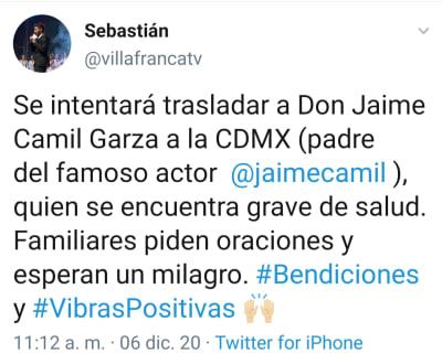 Jaime Camil Garza, papá del actor Jaime Camil, está muy grave