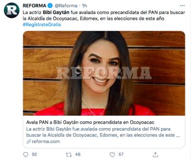 Biby Gaytán a la política y se postula para presidenta (Twitter)