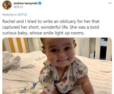 Muere hija reportero CNN, Rachel Louise Ensign, Andrew Kaczynski, Francesca