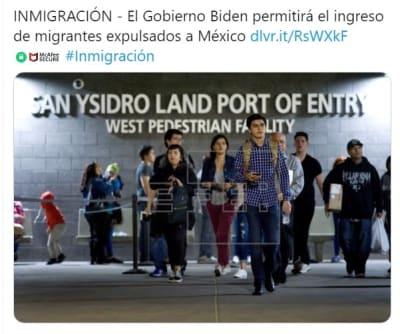 Biden ingreso migrantes expulsados