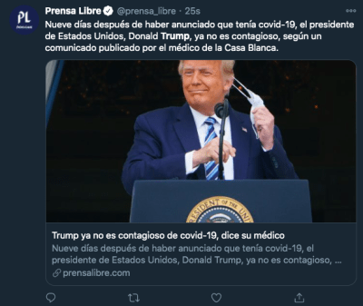 Trump sin riesgo contagio