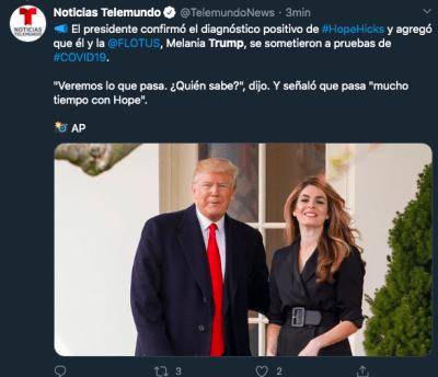 Trump Melania prueba coronavirus