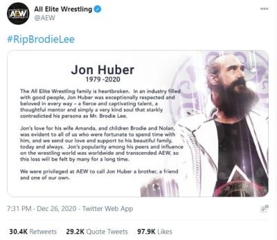 Muere Brodie Lee, ex luchador de la WWE y la AEW, por problemas pulmonares a los 41 años Jon Huber