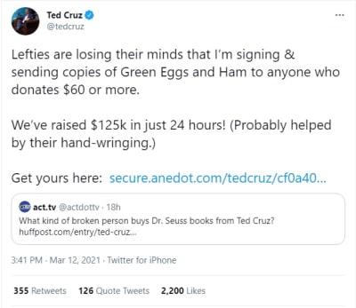 Ted Cruz recauda dinero, pero con propósito que ofende a muchos