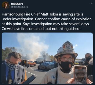 Explosión Virginia Centro Comercial Harrisonburg Incendio