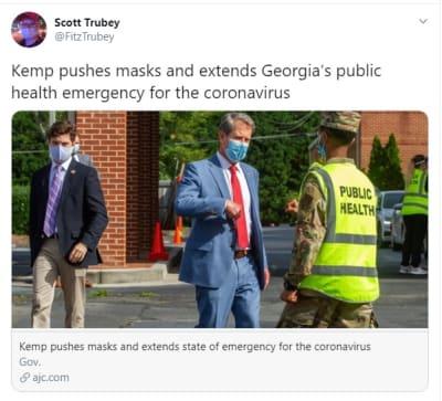 Gobernador de Georgia extiende estado de emergencia por coronavirus