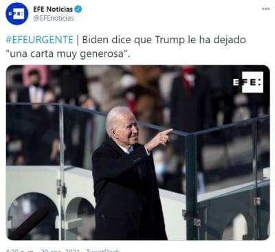 Trump carta generosa Biden