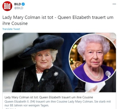 Muere la prima de la reina Isabel, Lady Mary Colman