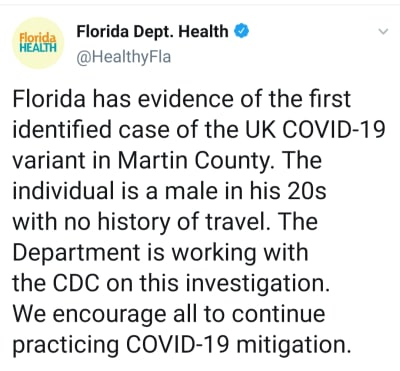 Detectan caso de la nueva variante de coronavirus en Florida