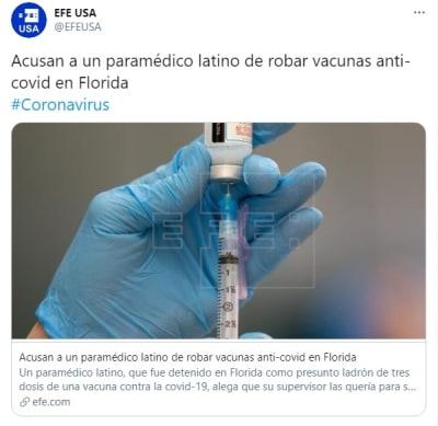 Paramédico latino robar vacuna coronavirus