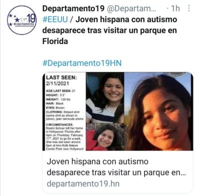 Noemi Bolívar desaparecida