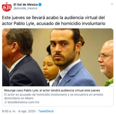 Actor Pablo Lyle tiene audiencia en Miami este jueves tras perder la apelación