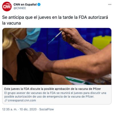 Vacuna coronavirus EEUU: FDA evaluará autorización