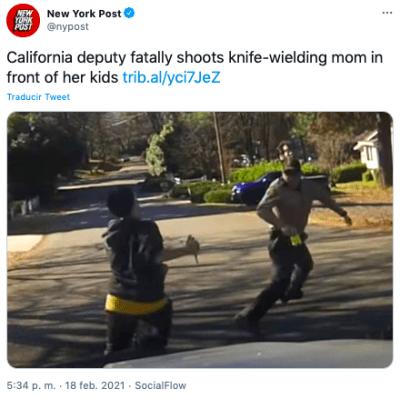 Policía mata a mujer a tiros delante de sus hijos