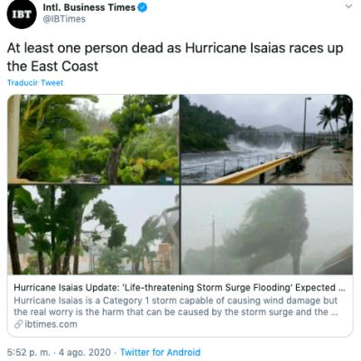 Huracán Isaías muertos: reportan un muerto tras su paso por la costa Este