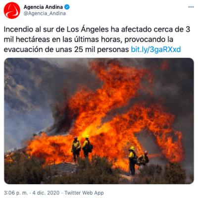 Incendio obliga a evacuar 25 mil personas en el sur de Los Ángeles