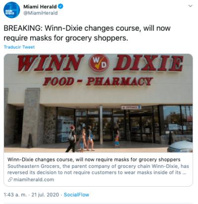 Walmart exige mascarillas a sus clientes e incentiva a otras tiendas
