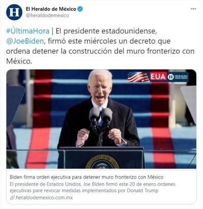 Biden firma decretos muro México soñadores