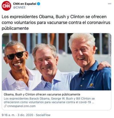 Expresidentes voluntarios para vacunarse contra coronavirus públicamente