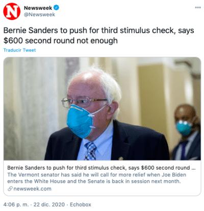 Tercer cheque de estímulo será necesario según Bernie Sanders