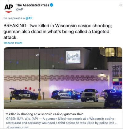 Tiroteo en Casino Wisconsin