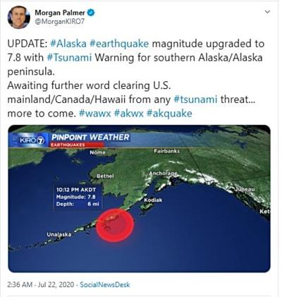 Potente sismo 7.8 Alaska y alerta de tsunami (FOTO y VIDEO)