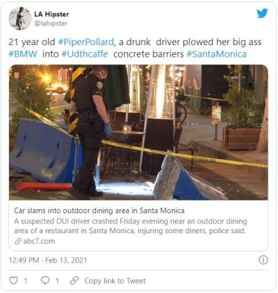 Joven choca contra restaurante al aire libre en California; deja herido