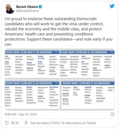 Expresidente Obama respalda a candidatos latinos demócratas