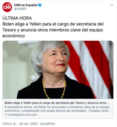 Janet Yellen es elegida por Biden para secretaria del Tesoro