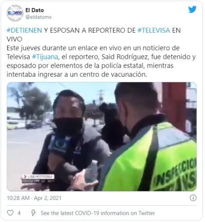 Reportero de Televisa es arrestado mientras transmitía en vivo (Video)