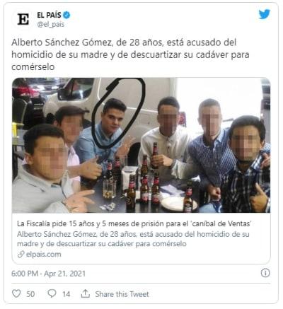 Caníbal español confiesa que mató a su mamá y la cortó en 1000 pedazos que guardó en Tupperware