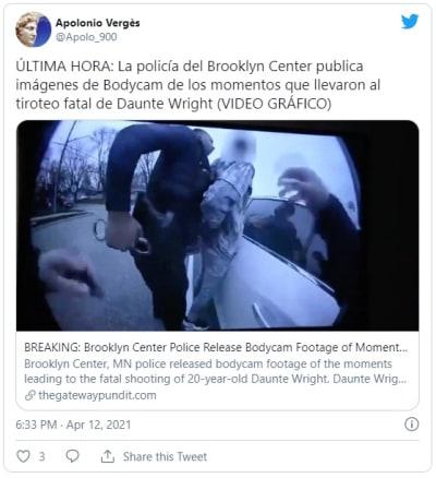 Revelan video de la detención de Daunte Wright: policía confundió su arma con una Taser