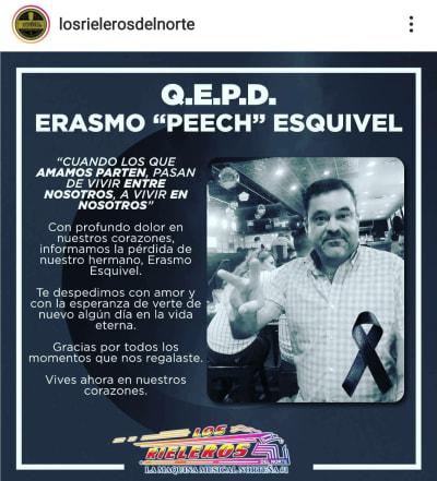 Lupillo Rivera está de luto por la muerte de un ser querido Erasmo Peech Esquivel Rieleros del Norte
