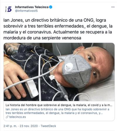 Serpiente muerde a hombre que contrajo malaria, coronavirus y dengue