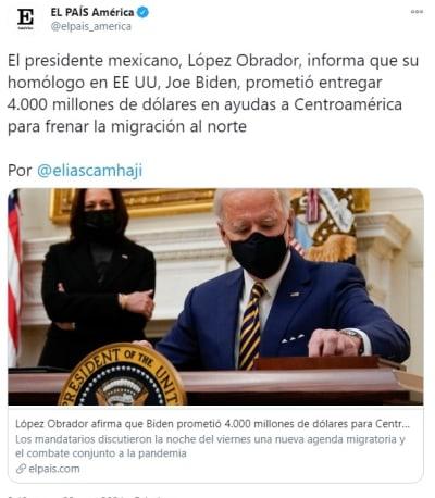 Biden dólares Centroamérica AMLO migración forzada
