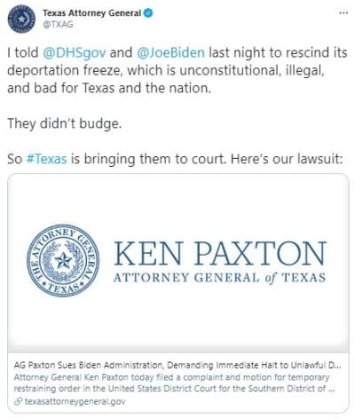 Texas deportaciones Biden, suspensión, medida