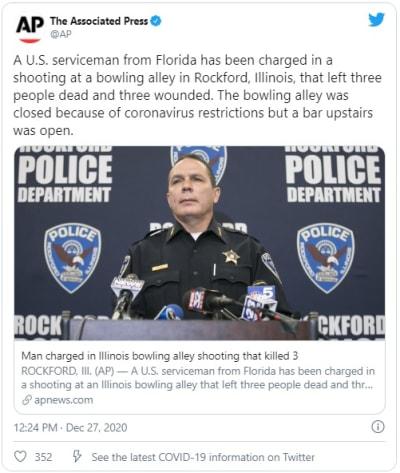 Hombre es acusado de matar a 3 personas en tiroteo en Bowling de Illinois