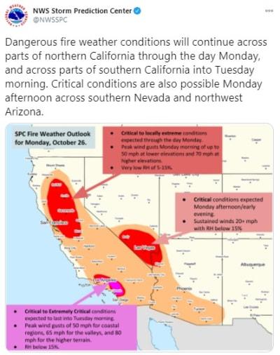 vientos del diablo California sin electricidad