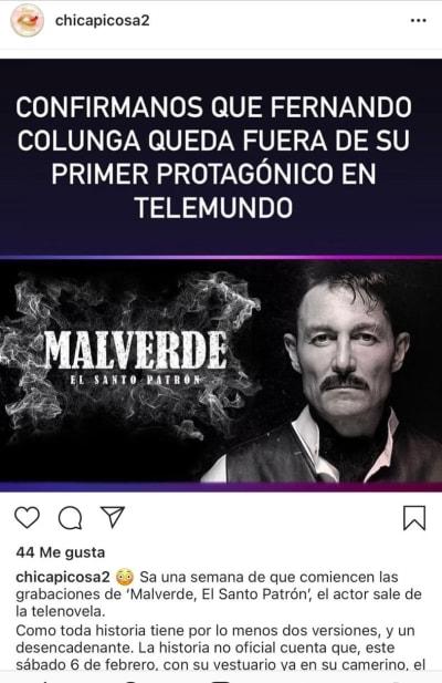 Fernando Colunga renuncia serie Malverde El Santo Patrón 2