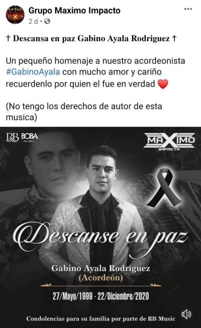 Cantante Narcocorridos Gabino Ayala, Máximo Impacto