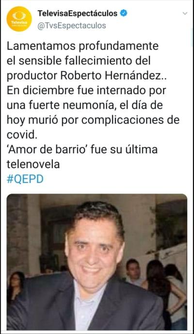 Muere Roberto Hernández, productor de Televisa, por coronavirus