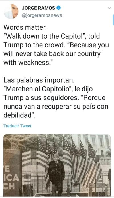 Jorge Ramos estalla contra Trump por incitar a una turba