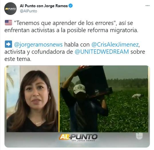 Jorge Ramos papeles, Reforma Migratoria, Cristina Jiménez, Inmigrantes