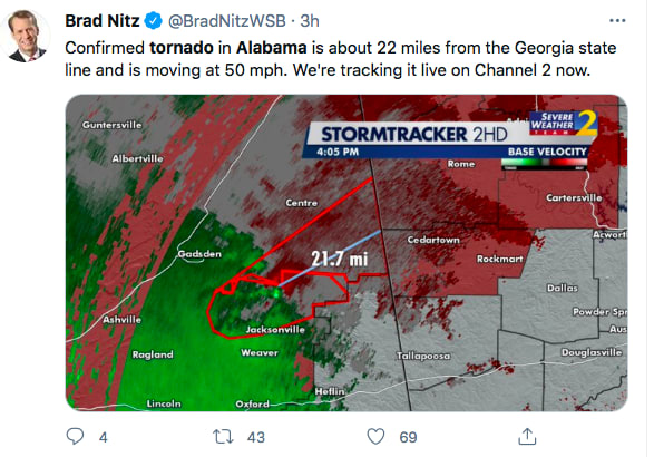 Paso de Tornado en Alabama (Twitter)