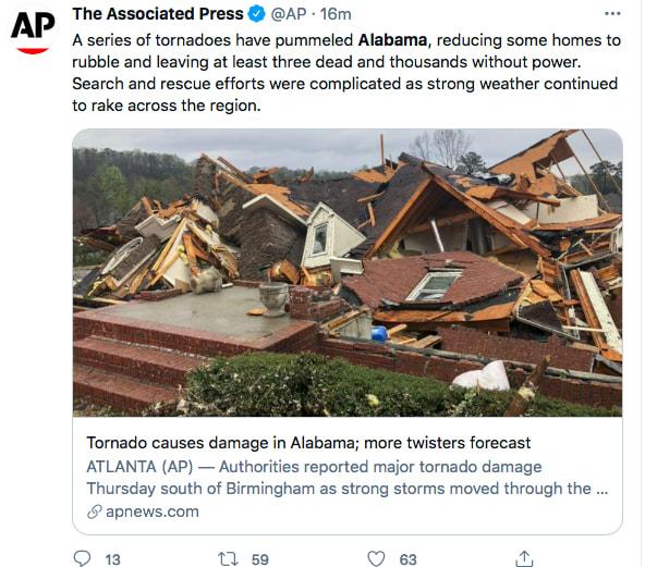 Tornado en Alabama deja 5 muertos y lesionados (Twitter)