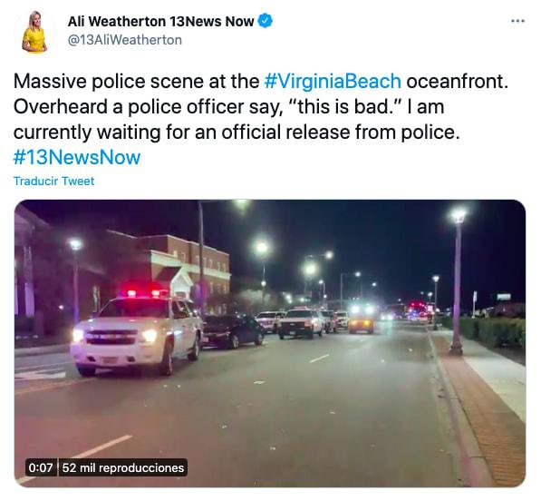 Tiroteos en Virginia y Filadelfia dejan dos muertos y varios heridos críticos. Foto: Twitter